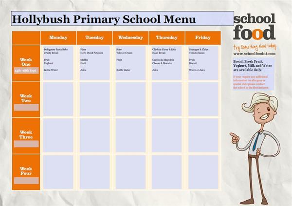 School Canteen Menu Mon 14th Sept to Fri 18th Sept 2020