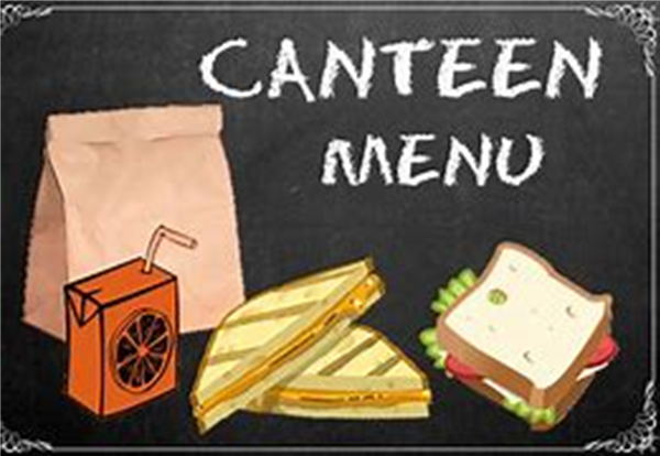 Canteen Menu week beginning 29th March